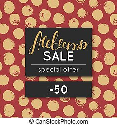 Autumn sale. Discount in fall. Special offer. Pattern with golden round stain. Repeating background with spots. Lettering