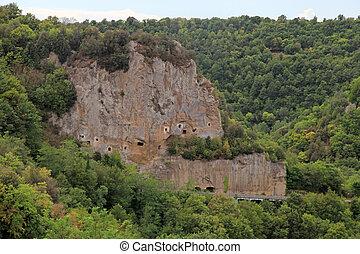 tuff rock near Sorano, Maremma, Tuscany, Italy - Lanscape...