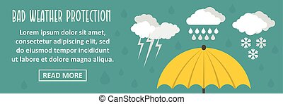 Bad weather protection banner horizontal concept. Flat...
