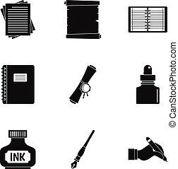 Notebook, pen icon set, simple style - Notebook, pen icon...