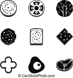 Natural slice product icon set, simple style - Natural slice...