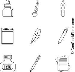 Pen supply tools icon set, outline style - Pen supply tools...