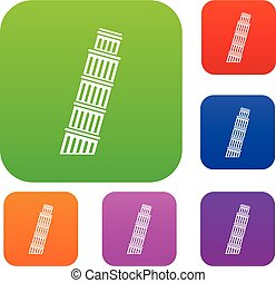 Tower of pisa set collection - Tower of Pisa set icon in...