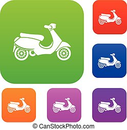 Vespa scooter set collection - Vespa scooter set icon in...
