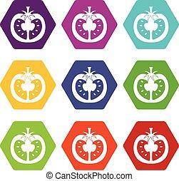 Half of tomato icon set color hexahedron - Half of tomato...