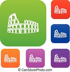 Roman Colosseum set collection - Roman Colosseum set icon in...