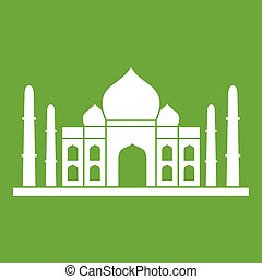Taj mahal icon green - Taj mahal icon white isolated on...