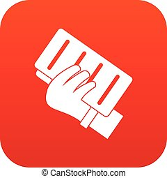 Brick in a hand icon digital red for any design isolated on...