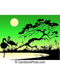 flamingo on a lake - silhouettes of flamingo, tree and moon...