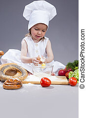 Food Concepts and Ideas. Funny Smiling Little Caucasian Girl...