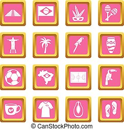 Brazil travel symbols icons pink