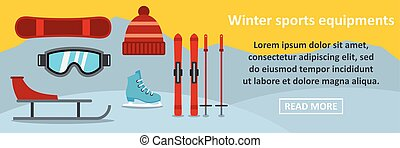 Winter sports equipments banner horizontal concept. Flat...