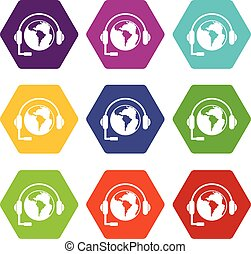 World planet and headset icon set color hexahedron