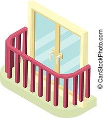 Stylish balcony icon, isometric 3d style - Stylish balcony...