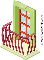 Facade balcony icon, isometric 3d style - Facade balcony...