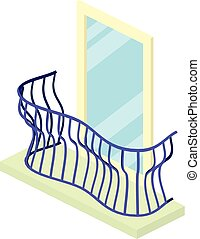 Curved balcony icon, isometric 3d style - Curved balcony...