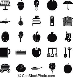 Low-fat food icons set, simple style - Low-fat food icons...