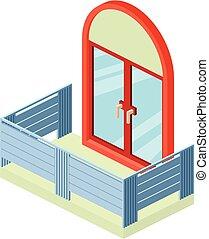 Retro balcony icon, isometric 3d style - Retro balcony icon....