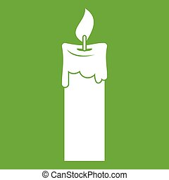 Candle icon green - Candle icon white isolated on green...