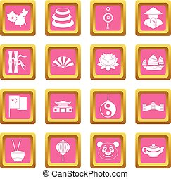 China travel symbols icons pink