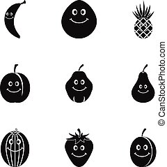 Funny fruit icon set, simple style