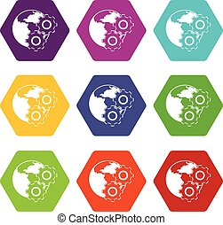 World planet and gears icon set color hexahedron