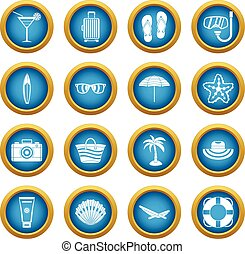 Summer rest icons blue circle set