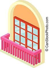 Narrow balcony icon, isometric 3d style - Narrow balcony...