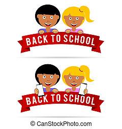 escuela, espalda, ilustración, niños