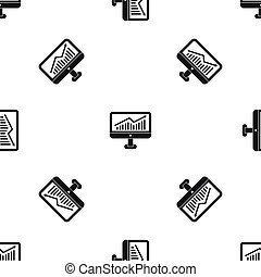 Growth graph on the computer monitor pattern seamless black