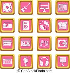 Recording studio items icons pink - Recording studio items...