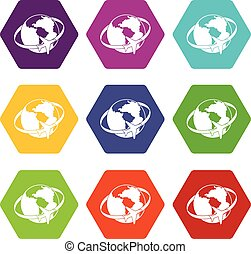 Travelling around the world icon set color hexahedron
