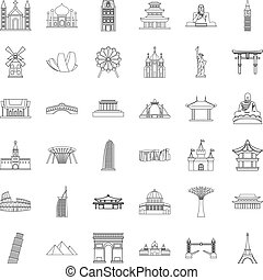 Showplace icons set, outline style - Showplace icons set....