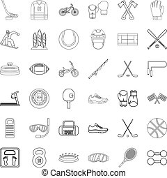 Weight icons set, outline style