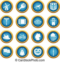 Germany icons blue circle set isolated on white for digital...