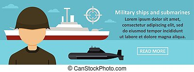 Military ships and submarines banner horizontal concept