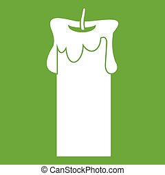 Big candle icon green - Big candle icon white isolated on...