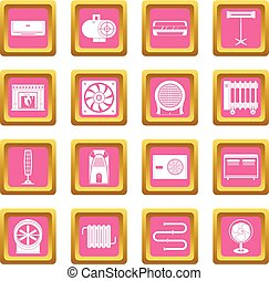 Heating cooling air icons pink - Heating cooling air icons...