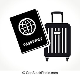 passport and suitcase icon on white background