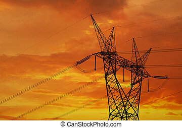Electrical pylon and high power lines against a dramatic...