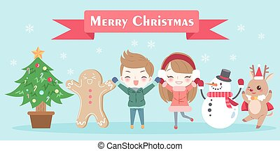 cartoon with merry christmas - cartoon children with merry...