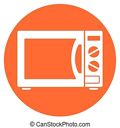 microwave oven circle icon - Illustration of microwave oven...
