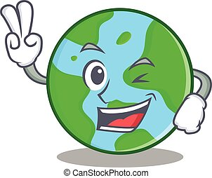Two finger world globe character cartoon