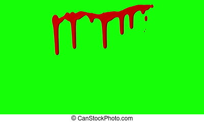 Red Ink Dripping Over Green Screen Background - Red ink...