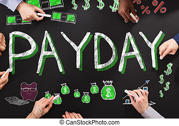 Payday Employee Compensation - Group Of People Drawing...