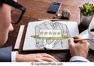 Five Star Hospitality Service In Notepad - Man Drawing Five...