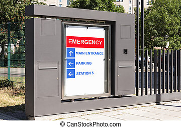 Emergency sign at hospital main entrance - Board with...