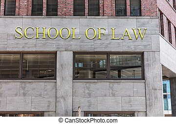 School of law sign on building in city