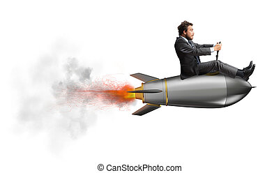 Businessman flying over a rocket. concept of company startup...