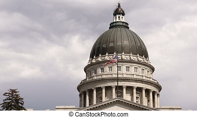 Elevation Facade Flag Flying Utah Capital Building Salt Lake...